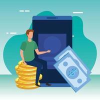jovem com smartphone e personagem de dinheiro