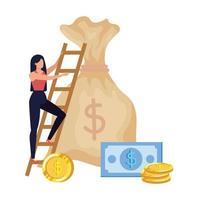 mulher com bolsa de dinheiro e escada