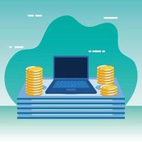 moedas e notas dinheiro dólares com laptop vetor