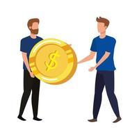 jovens com personagens de moedas de dólares