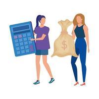 mulheres jovens com calculadora matemática e saco de dinheiro