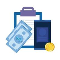 lista de verificação da prancheta com smartphone e dinheiro vetor