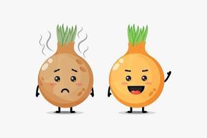 um mascote fofo para cebolas frescas e cebolas podres vetor