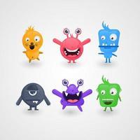 coleção de desenhos de monstros bonitos dos desenhos animados vetor
