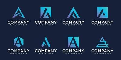 conjunto criativo de design de logotipo com monograma vetor