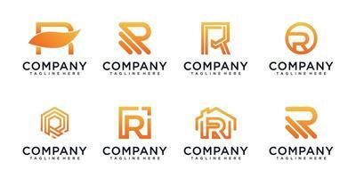 conjunto de letra r de design de logotipo de monograma vetor