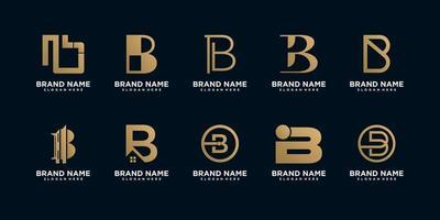 conjunto de modelos de design de logotipo monograma b vetor