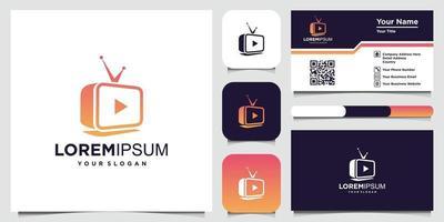 modelo de design de logotipo de conceito de tv criativo e cartão de visita vetor