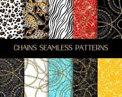 coleção de padrões de correntes. padrões sem emenda de cadeia de vetores com estampas de animais zebra e tigre