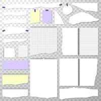 pedaços de papel rasgado do caderno com espiral. vetor