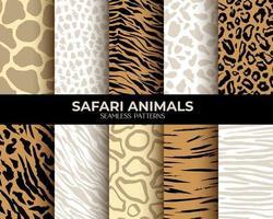 pêlo animal imprimir padrões sem emenda de vetores com leopardo, tigre e zebra