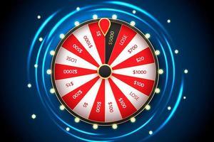 modelo de banner de vetor de roda da fortuna girando de cassino