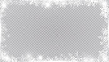 moldura de neve de inverno retangular com estrelas, brilhos e flocos de neve