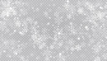 flocos de neve branca em um fundo transparente.