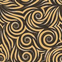 padrão sem emenda de vetor de espirais laranja e bege de linhas e cantos. textura lisa em um fundo marrom.