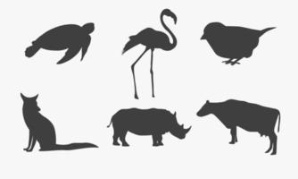 ilustração vetorial de coleção de silhuetas de animais vetor
