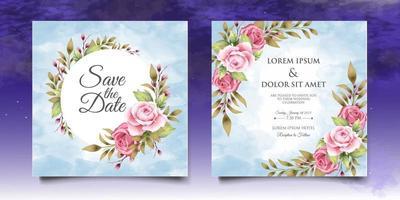 bela mão desenhando modelo de convite de casamento floral vetor
