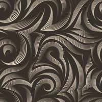 padrão sem emenda de vetor de linhas suaves e quebradas desenhadas por uma caneta bege com cortes no meio com pontas afiadas em um fundo marrom isolado. textura pastel de listras fluidas