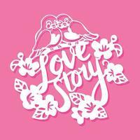 pássaros história de amor flores corte de papel