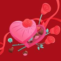 doce dia dos namorados bombons chocolates caixa coração vetor
