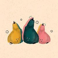 peras coloridas desenhadas à mão em vetor