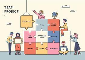 modelo de banner do conceito de projeto de equipe. vetor