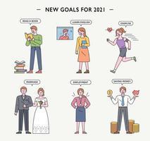 personagens da meta de ano novo. vetor