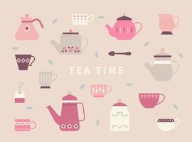 bules bonitos e xícaras de chá com padrões retrô.