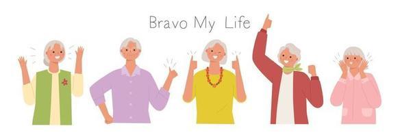 coleção de personagens femininos seniores. vetor