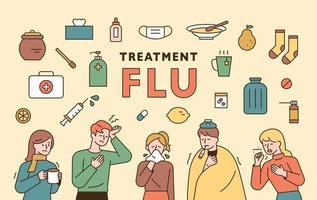 conjunto de ícones de gripe.