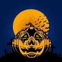 abóbora na lua cheia e lápides para t-shirt e roupas com tema de halloween design moderno com tipografia simples vetor