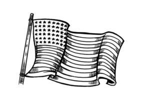 mão desenhada elemento preto branco bandeira americana isolado no fundo branco. ilustração monocromática da bandeira americana para símbolo, emblema, plano de fundo, papel de parede ou t-shirt isolado no fundo branco.