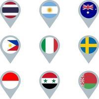 conjunto de marcadores de mapa com bandeiras vetor