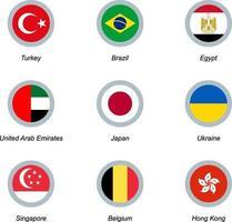 conjunto de ícones redondos com bandeiras vetor