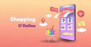 loja de compras online no design do site e do telefone móvel. conceito de marketing de negócios inteligentes. visão horizontal. ilustração vetorial. vetor