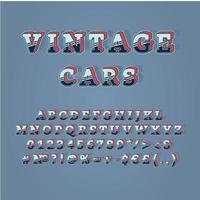 Conjunto de alfabeto de vetor 3d vintage cabeçalho de carros antigos