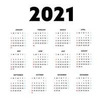 calendário 2021 isolado no fundo branco. semana começa no domingo. ilustração vetorial.