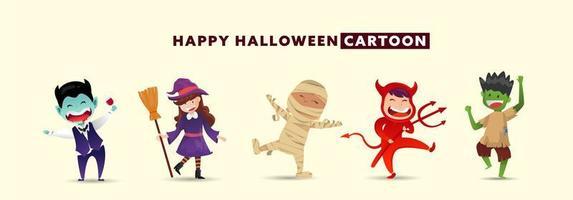 feliz dia de halloween com coleção de design de personagens de monstro fofo. vetor