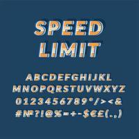 conjunto de alfabeto de vetor 3d vintage de limite de velocidade