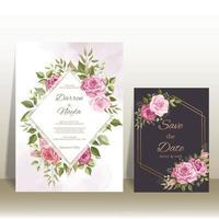 lindo conjunto de modelos de cartão de convite de casamento vetor