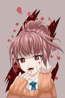 estilo anime linda garota tem presas com tema escuro