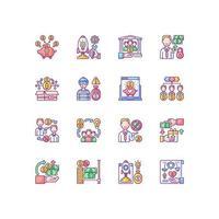 conjunto de ícones de cores rgb de crowdfunding