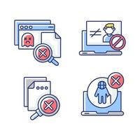 conjunto de ícones de cores rgb erros do site vetor