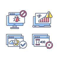 notificações de navegação na internet conjuntos de ícones de cores rgb vetor