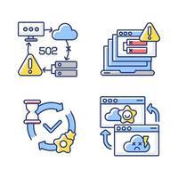 conjunto de ícones de cores rgb de notificações de rede vetor