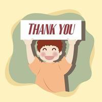 menino feliz segura banner de agradecimento no ar vetor