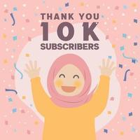 Linda garota muçulmana feliz, obrigado comemorando 10 mil seguidores design vetor