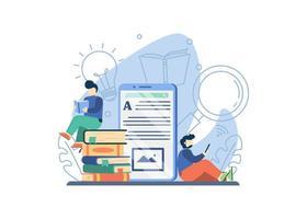 conceito de biblioteca online vetor