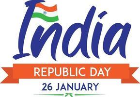 pôster do dia 26 de janeiro da república da Índia com bandeira vetor