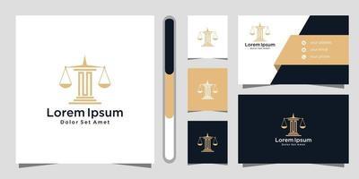 logotipo do escritório de advocacia e modelo de design de cartão de visita vetor